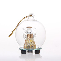 wholesale good quality clear drawing process christmas glass ornaments with mirror led light base