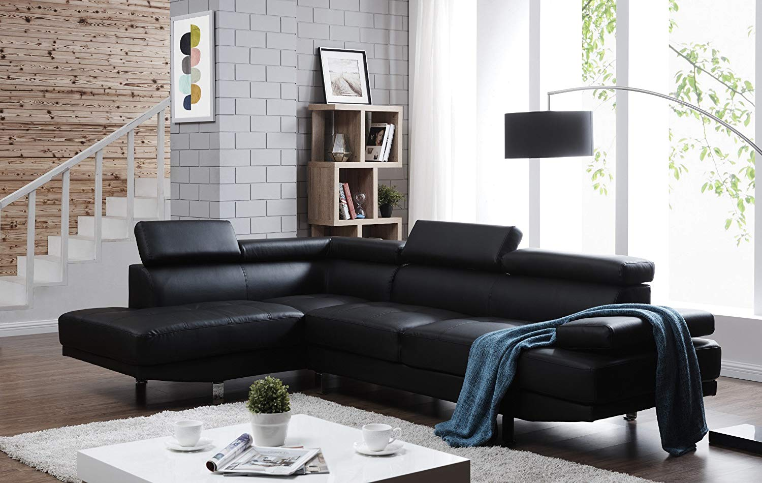 """Container Furniture Direct S0070L-2PC Rangel Elegance Faux Leather Upholstered Contemporary Modern Left-Sided Sectional Sofa, 110.2"""", Black"""