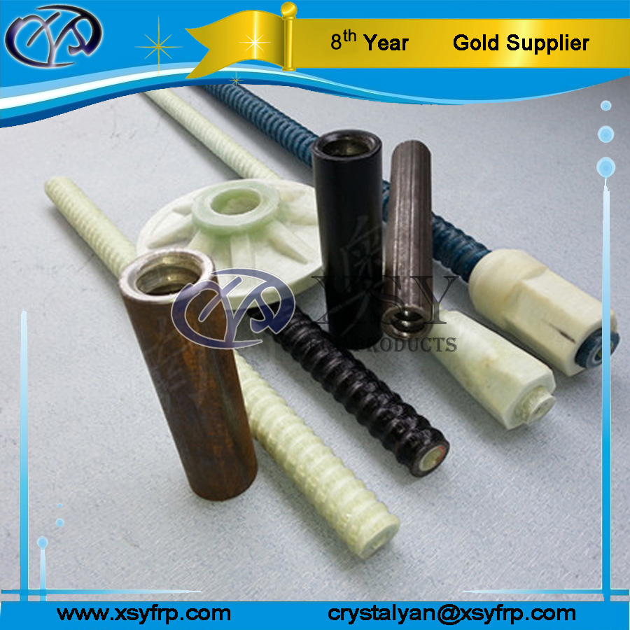 Fiberglass FRP Self Drilling Hollow Rock Anchor Bar R25 For Building Construction With Anchor Coupler / Plate / Nut / Steel cors