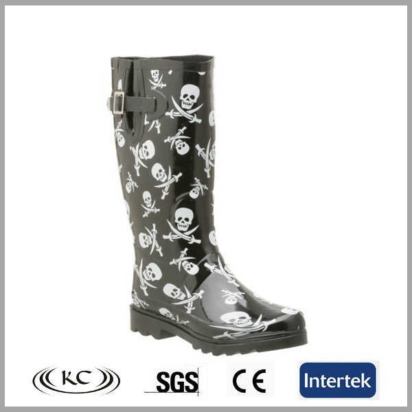 fashion skull printed buckled wellies with heels,wellingtons