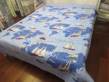 World Map Sailing Ship Pattern Printed 100% Cotton Quilts Cheap ...