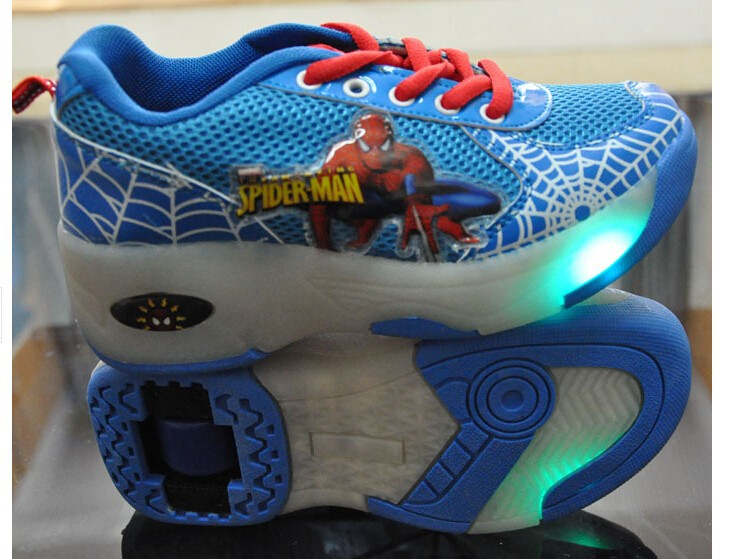 Children Roller Shoes Fashion Heelys Flashing LED Lighted With Wheel Skates Kids Cartoon Design Shoe Boys Girls Sneakers