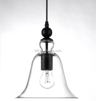 e27 modern cone clear glass chandelier bell jar pendant light for