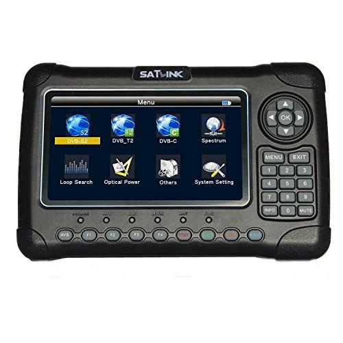 SATLINK WS-6980 7'' inch High Definition Digital Satellite TV Finder, Digital Satellite Signal Finder Meter, DVB-S2/C/T2 COMBO Spectrum analyzer / Optical Power Detection Constellation analyzer, Black