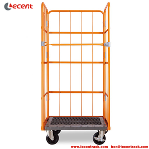 Steel Roll Cage With Plastic Pallet For Logistics Cargo Distribution