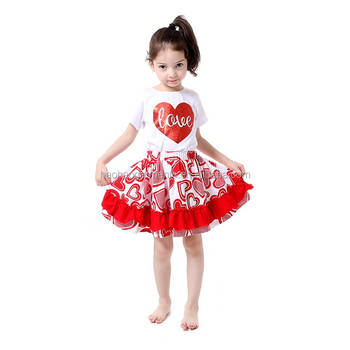 Kids Valentine S Day Remark Clothing Wholesale Top With Ruffle Skirt