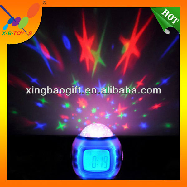 Music and starry sky Calendar. 2014Star Sky Music Projection Night light with Alarm Clock.