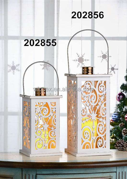 White Wooden Christmas Decorative Lanterns With LED Candles Installed