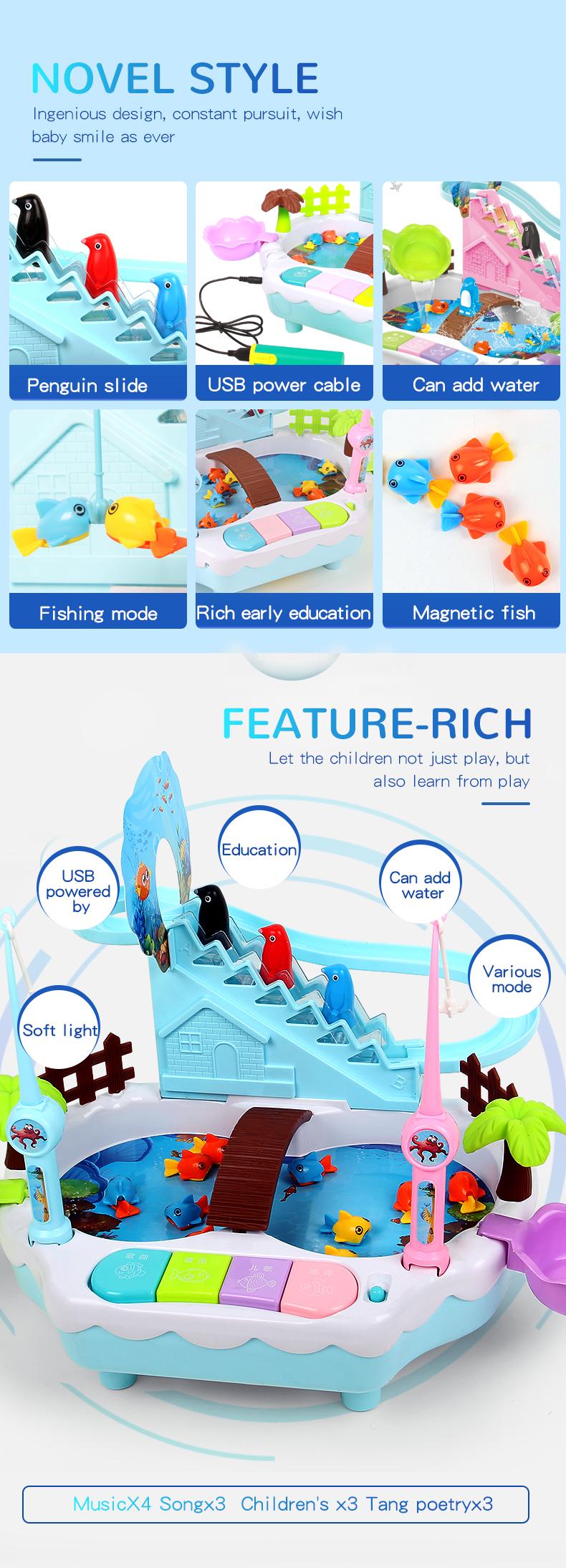 TongLi 1567-8 çocuk oyuncaklar boys ve kızlar için balıkçılık oyuncak eğitim öğrenme makinesi plastik balıkçılık oyuncaklar oyunu müzikli ışık