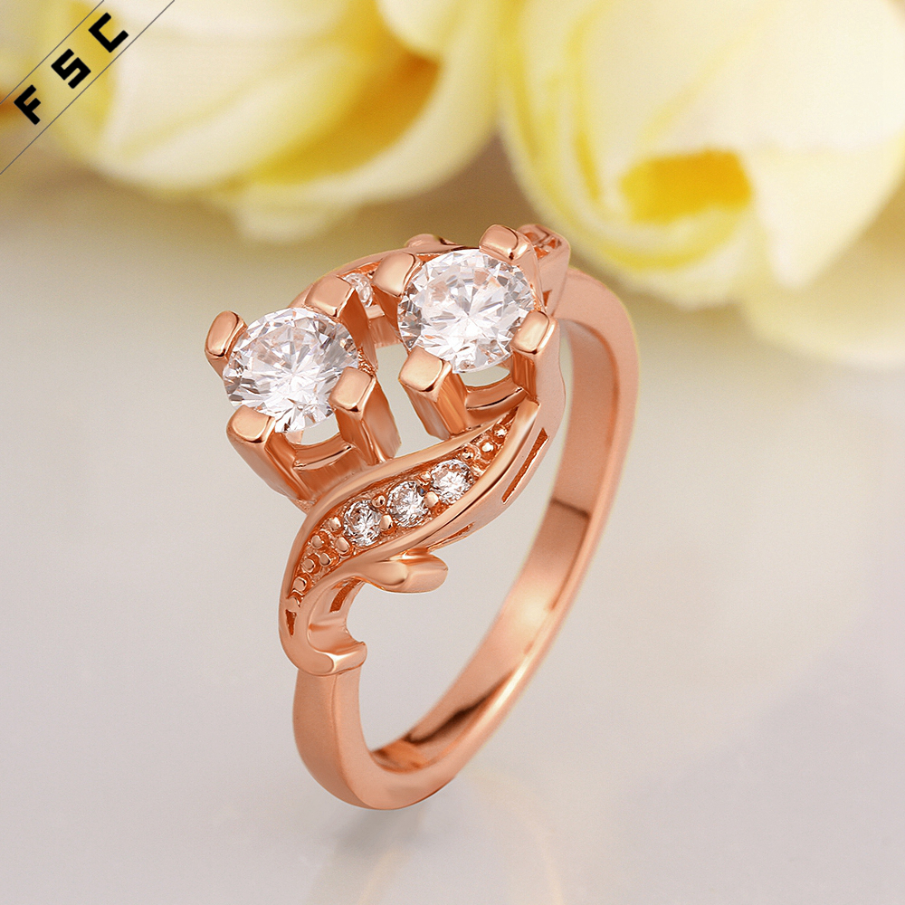 new design fashion geometrical shape cubic zircon rose gold plating ring for women wedding engagement ring