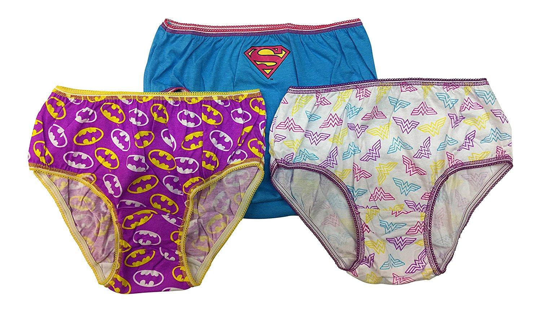 915b34441e2a Get Quotations · DC Comics Justice League 3-Pack Girls Panties Underwear  Wonderwoman Supergirl Batgirl ( Size 8