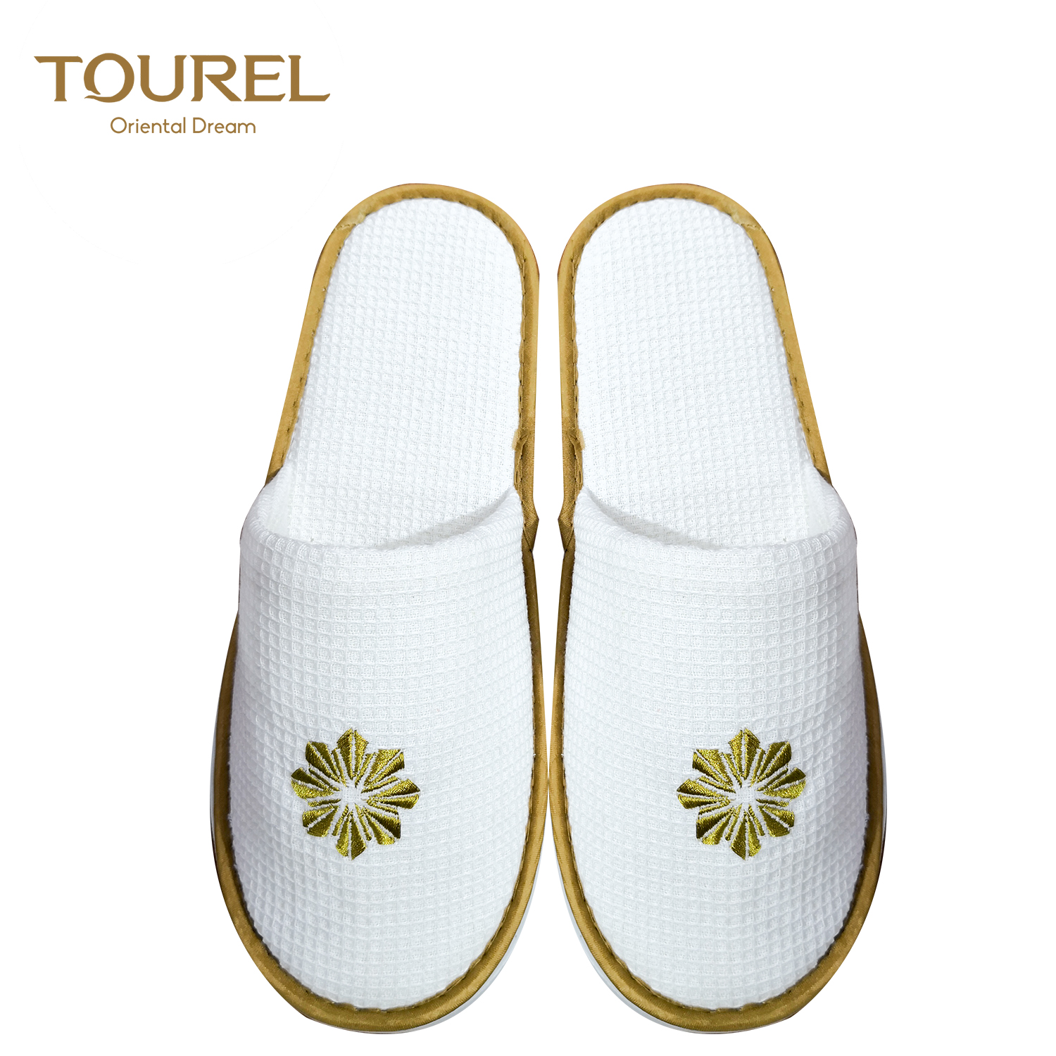 Whole Sale Hotel Supplies Waffle Washable Indoor Thick Eva Sole Disposable Guest Cheap Slippers