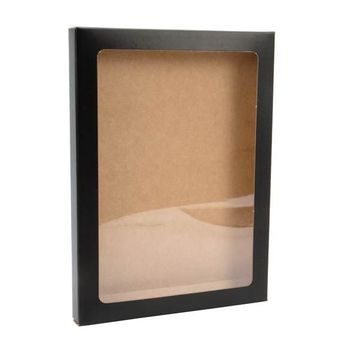 PVC window display kraft  paper box for cards