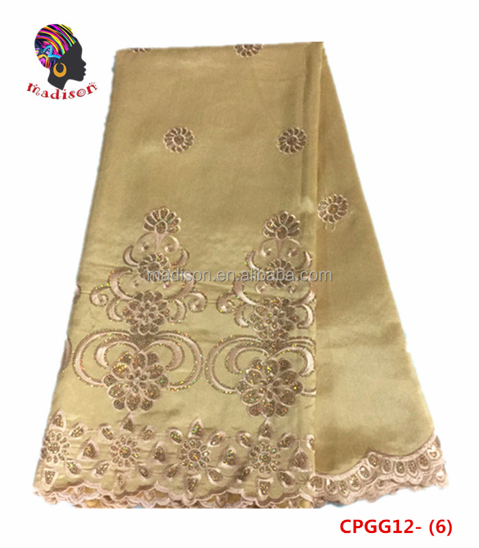 Gzmadison CPGG12-6 Gold Hot selling indian george lace fabric/Nigerian polyester slub yarn embroidered bridal lace george