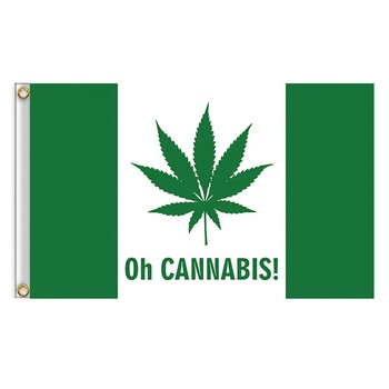 Oh Cannabis Flag Polyester Green Weed Leaf Canada Flag 3x5 ft Canadian Green Leaf Banner With 2 Eyelets