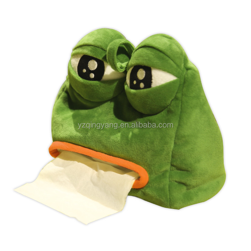 cute customized plush fabric sad frog tissue box cover for wholesale
