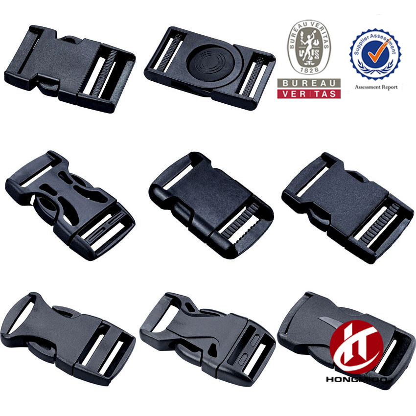 Black plastic 1-inch (25mm) flat side quick release buckles