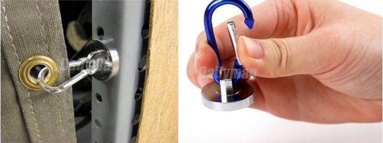 High quality 2Pcs 28mm Diameter Round Base Magnet w Carabiner Snap Hook