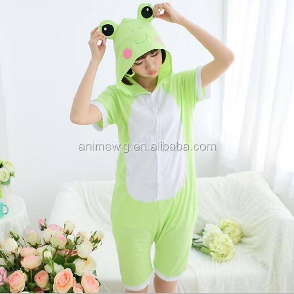 0d1a9a35a365 Wholesale Kartoon Summer Sleepwear Unisex Adult Cotton Frog Animal Onesie  Cosplay Costume Summer Pajamas Costume