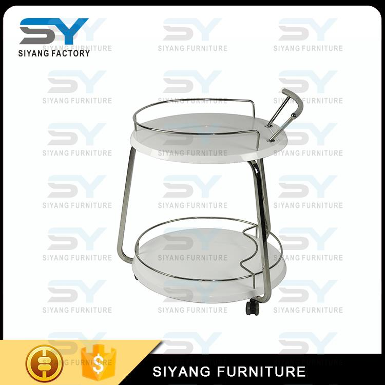 stainless steel hotel service dining trolley with glass top