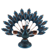 New Chinese style Blue peacock shape metal candlestick three light candle holder