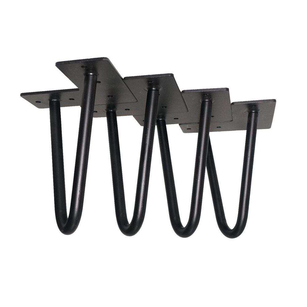 "6"" Metal Furniture Legs - 4 Pack - Black - 1/2"" Steel Rod - Modern Hairpin Table Legs of Bed, Sofa, Stool, Cabinet and so on"