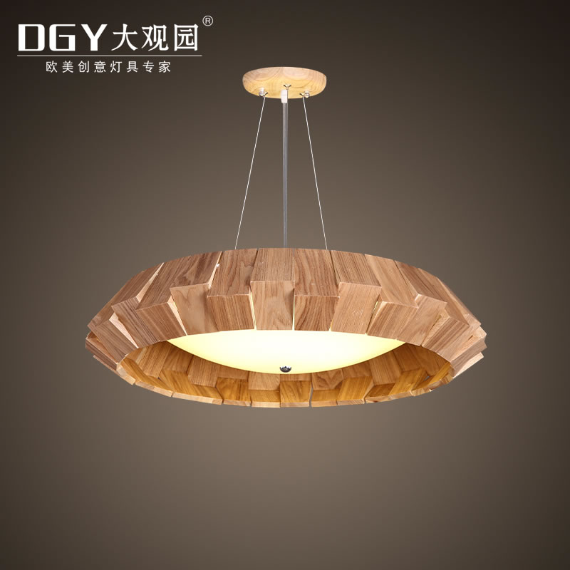 Petal shape wooden pendant lamp LED chandelier bedroom artistic pendant light