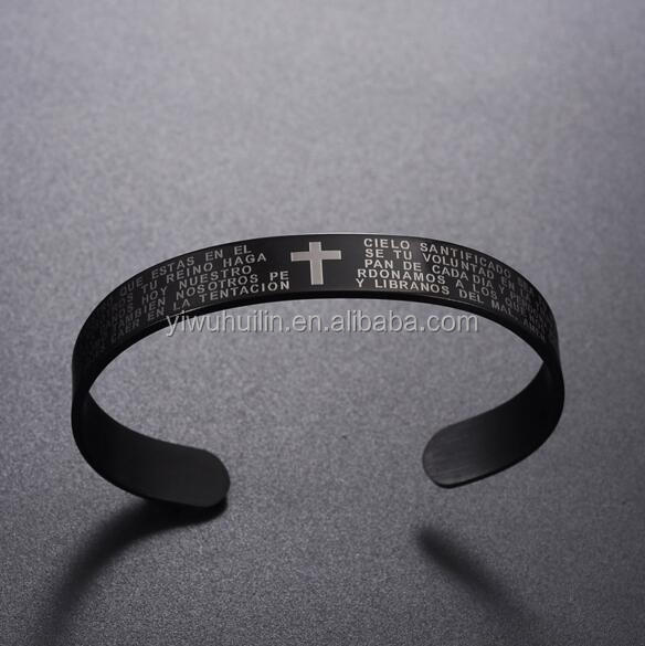 MS012 Yiwu Huilin Jewelry Christian Men Stainless Steel Bracelets with Cross Bible Verses Word Bracelet Bangle