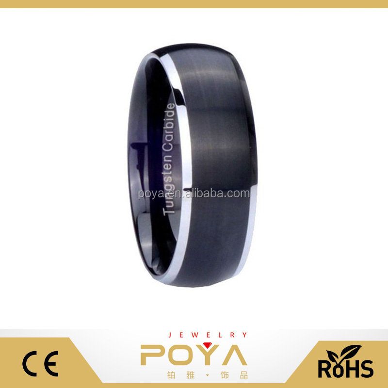 8MM Tungsten Carbide Matte Black Silver Edges Dome Mens Band Ring