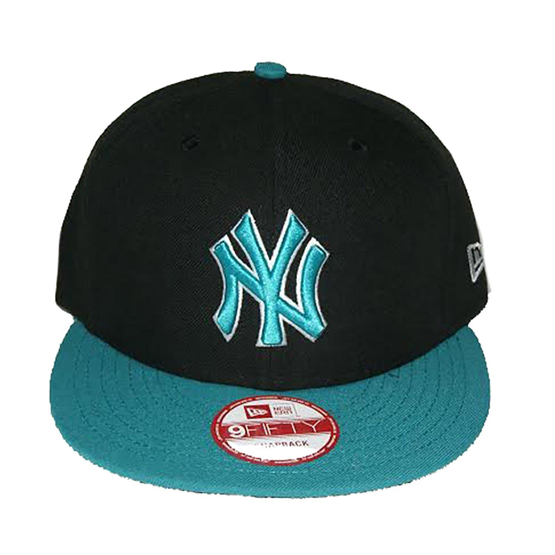 dfc39e37 Get Quotations · New Era NY Yankees 2 Tone Snapback Black Aqua Size O/S