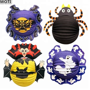 WOTI HWD-021 Factory Lowest Price Halloween Ghost/Witch/Bat/Spider/Pumpkin Paper Lantern for Halloween Party/Bar/Home Decoration