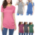 Womens Shirts Casual Tops Short Sleeve Buttons Decor Blouse Loose Tunic Tops Plus Size T-Shirts