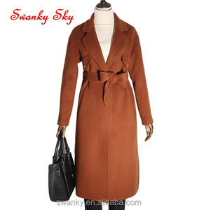 2018 classic winter 100% wool long women coat with belt