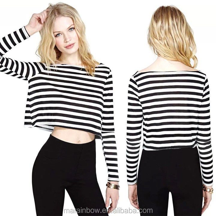 Wholesale rock girl striped long sleeve crop top tee plain for Buy 100 cotton t shirts in bulk