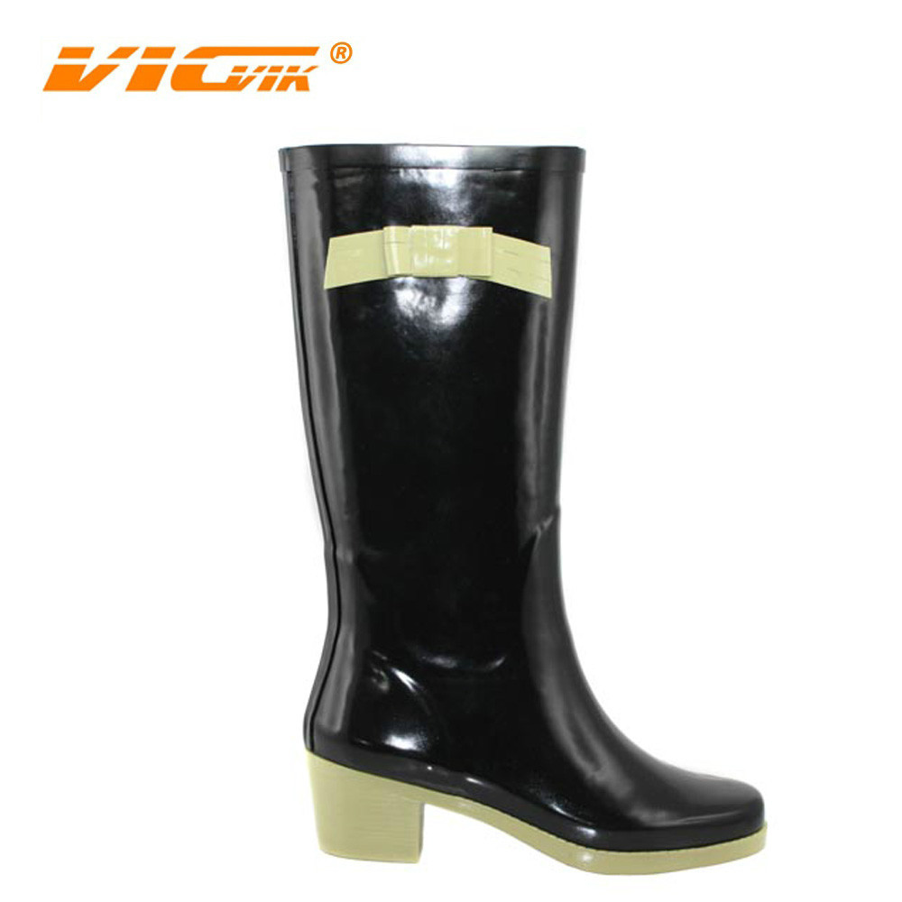 2017 Rain Boots Shoes Women Boot Bow Sexy High Heeled Girl's Rubber Wellies Brand Rain Boot Supplier Wholesale Womens Shoes D291