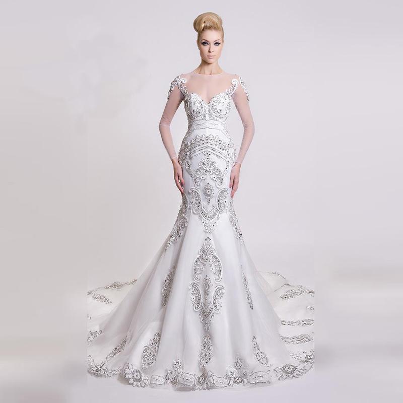 Beautiful Mermaid Wedding Gowns: Elegant Bridal 2016 Beautiful Fit Flare Mermaid Beaded