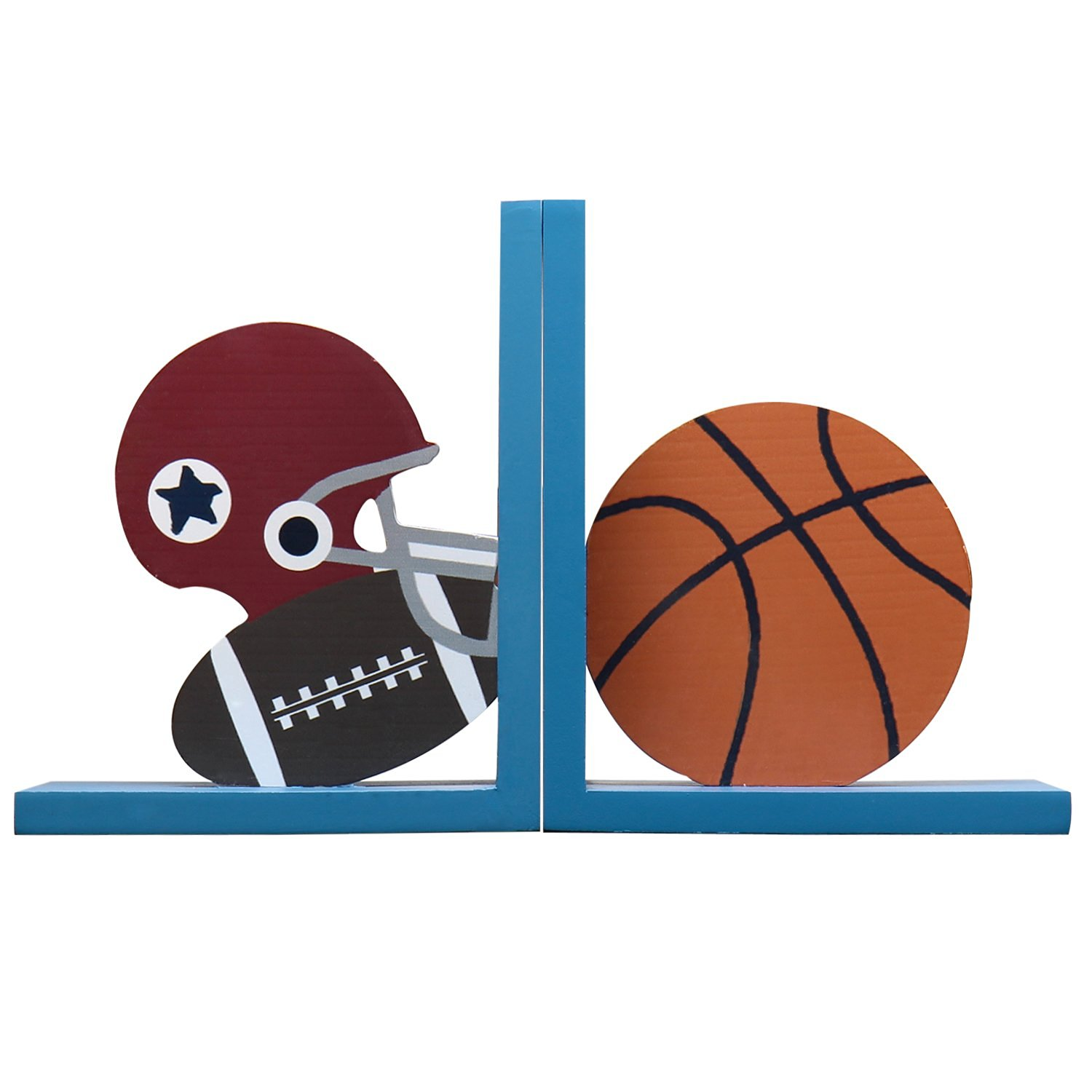 *Back-to-School Sale!* Adeco Set of 2 Decorative Child's Wood Bookends, Football and Basketball, Kid Bedroom, Bookshelf, Storybook