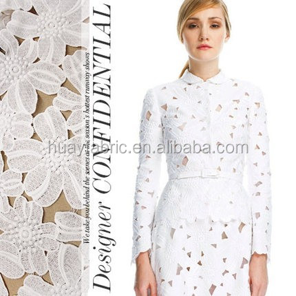 Fashion Cotton Guipure Lace fabric / Couture Work White Lace Fabric