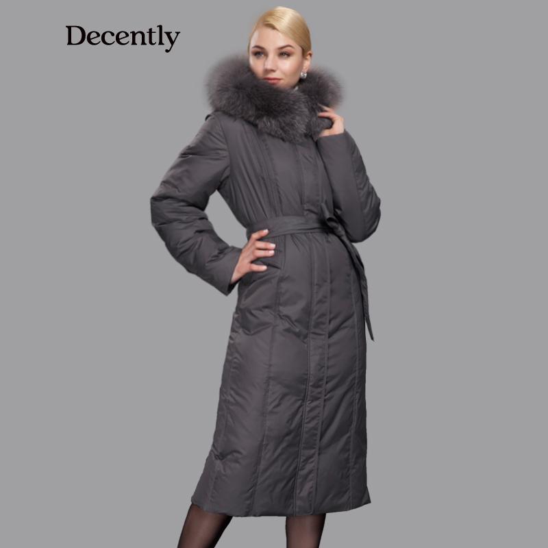 Decently 2015 парка женская пуховик зимний женский зима женщины утка пуховик толстая куртка мода Longthen вершины женщина пальто бесплатная доставка настоящее фокс меховым воротником 7191-6