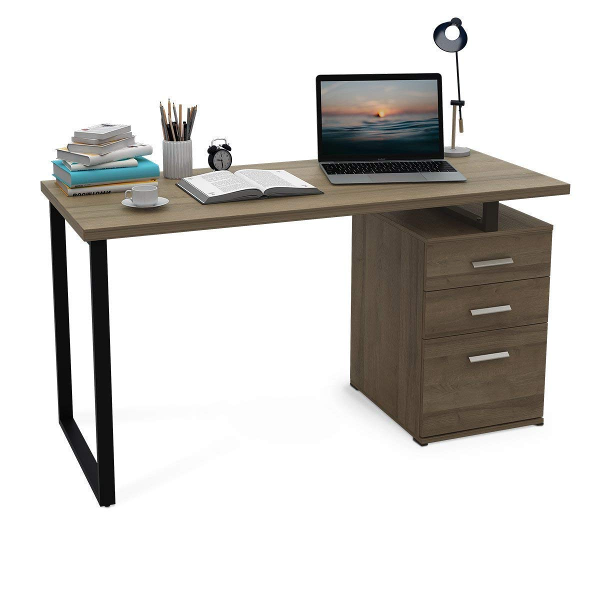 """DEVAISE Home Office Computer Desk,55.1"""" Writing Table Workstation Reversible Cabinet Left Right Facing Table (Gray Oak)"""