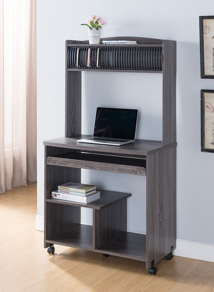 Smart Home Liam Desktop Tower Computer Desk (Small, Grey)