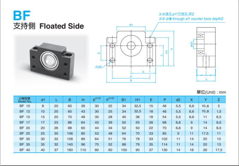 free shipping Ballscrew bearing mounts end supports BK10//BF10 = 1 BK10 1 BF10