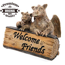 polyresin garden dragon ornament with welcome friend half log sign