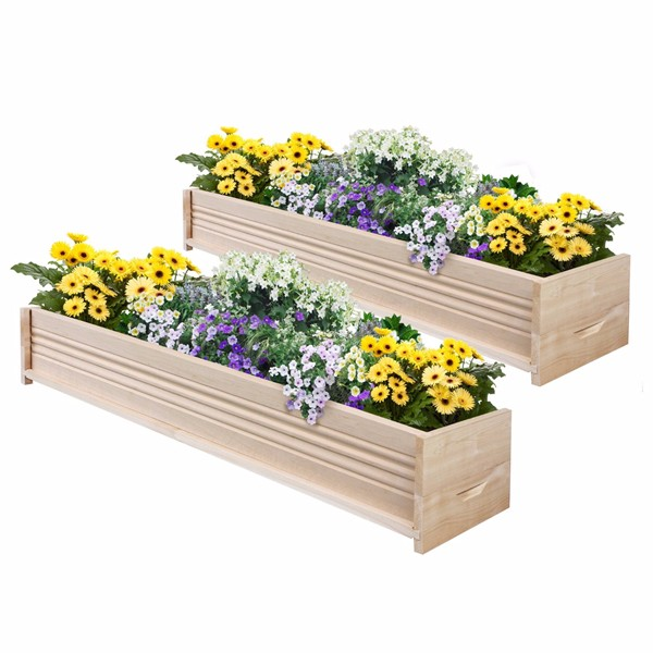 High Quality Natural Wood Color Wooden Flower Box Fence Cedar Patio Planter  Box