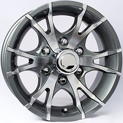"eCustomRim Aluminum Sendel Boat Camper Trailer Rim Wheel 6 Lug 16"" Avalanche V-Spoke Gray"
