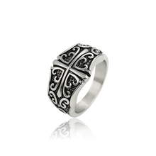 r-36 xuping fashion new design black gun color stainless steel cross ring