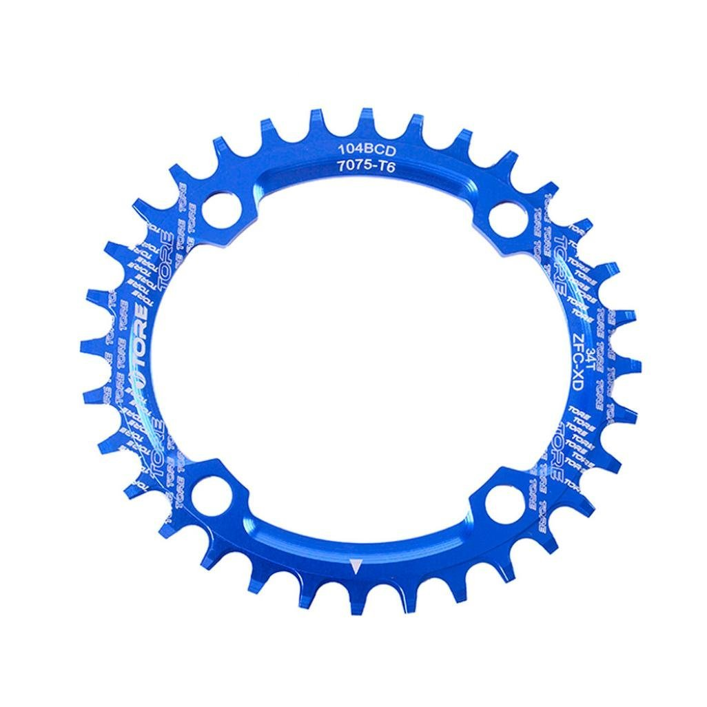 Binmer(TM) 104BCD 36T Ultralight Alloy Bike Bicycle Chainring Oval Round Chainwheel (Blue)