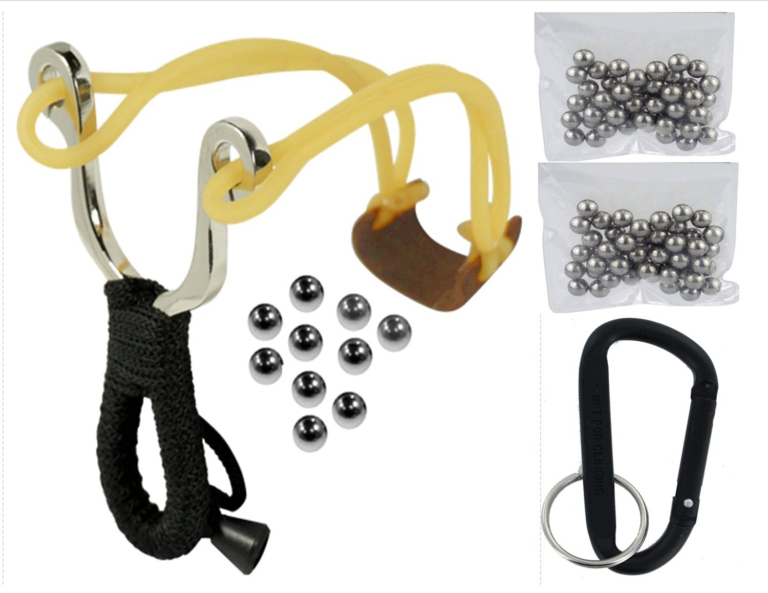VAS EMERGENCY SURVIVAL COMPACT SLING SHOT & 10 PK 6MM / 100 PK 8MM AMMO WITH CARABINER