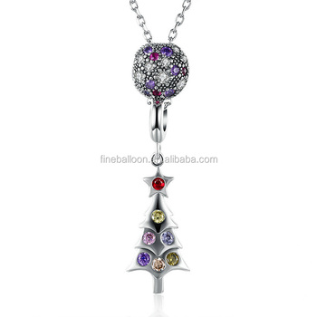 Christmas Gift elegant 925Silver Jewelry Zircon Christmas Tree Pendent Necklace