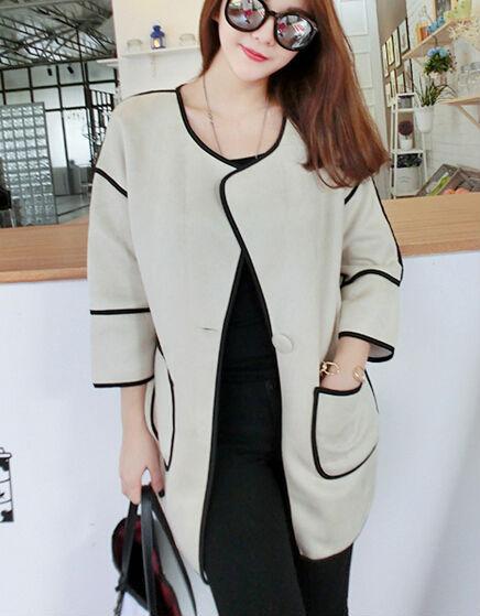 Сплошной карманы свободного покроя длинная стиль женщины пальто с v-образным вырезом без тары 3/4 рукав